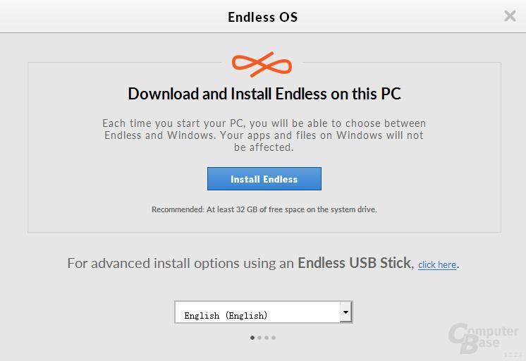 Der Installationsprozess von Endless OS über den Windows-Installer
