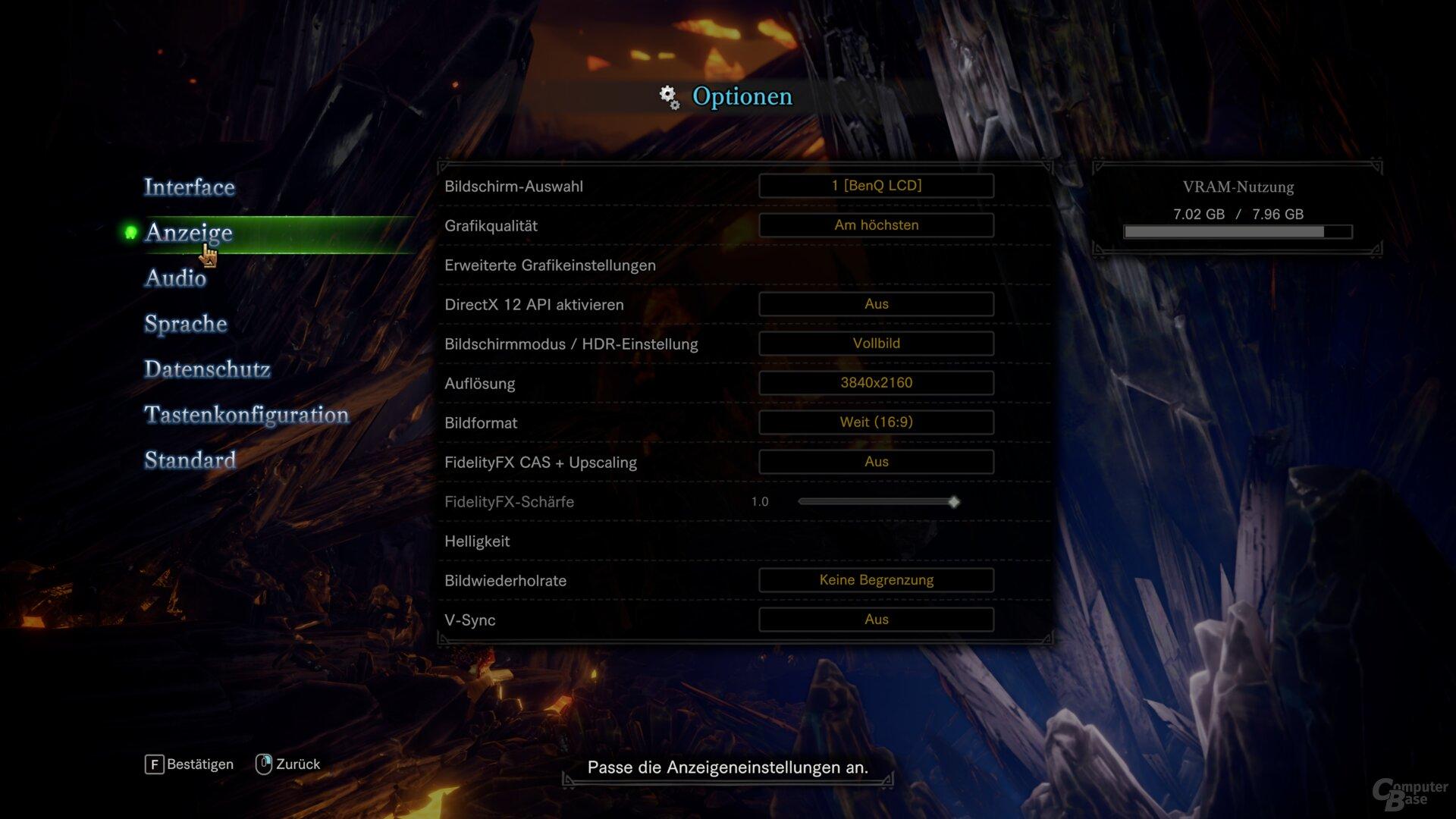 Monster Hunter World: Iceborne – Grafikoptionen