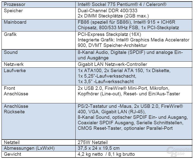 XPC 2B86i Specs