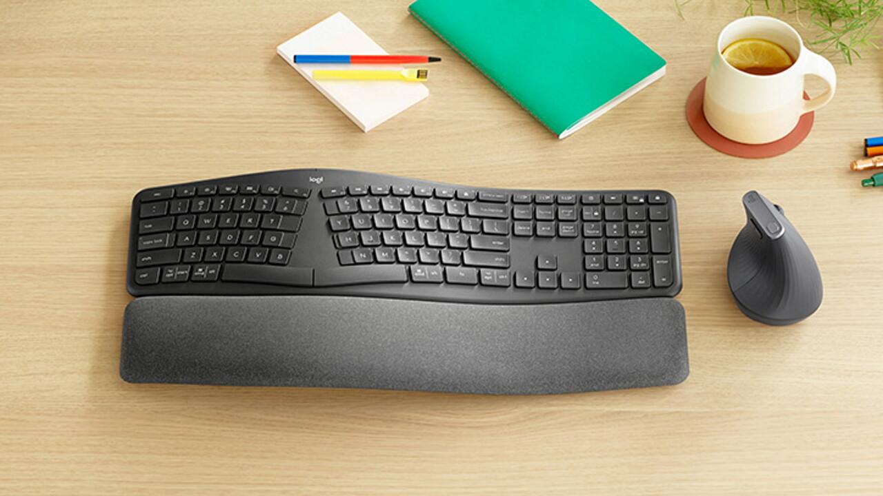 Logitech Ergo K860: Kabellose ergonomische Tastatur teilt Tastenfeld