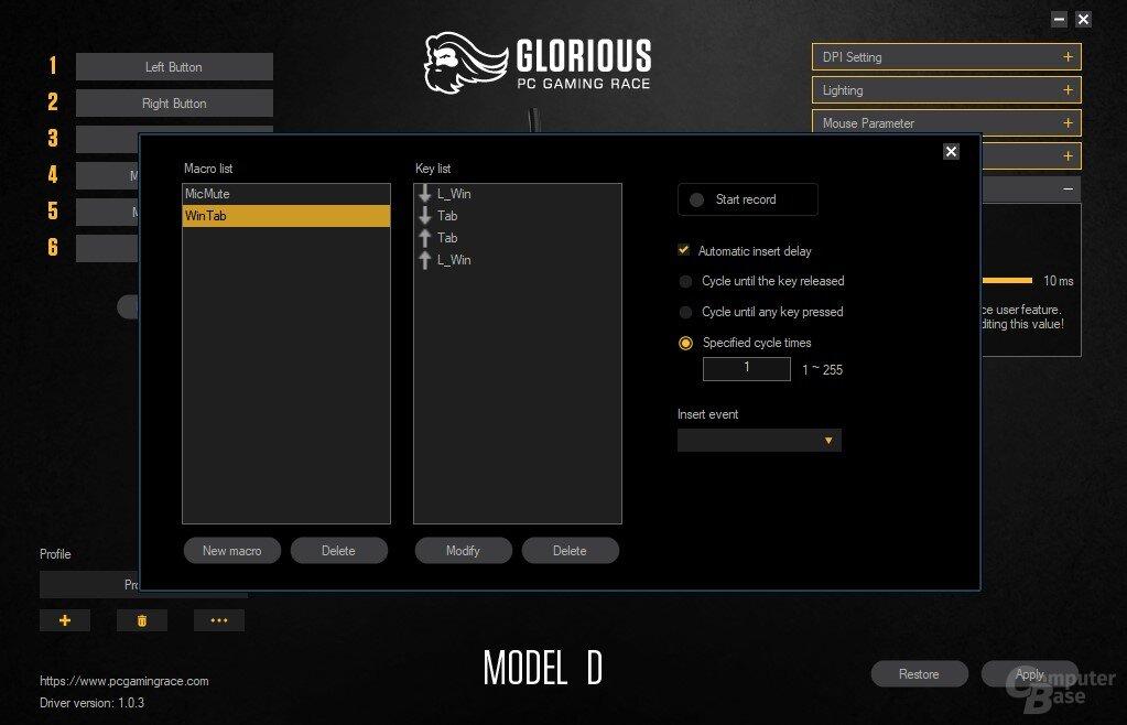 Glorious Model D Software