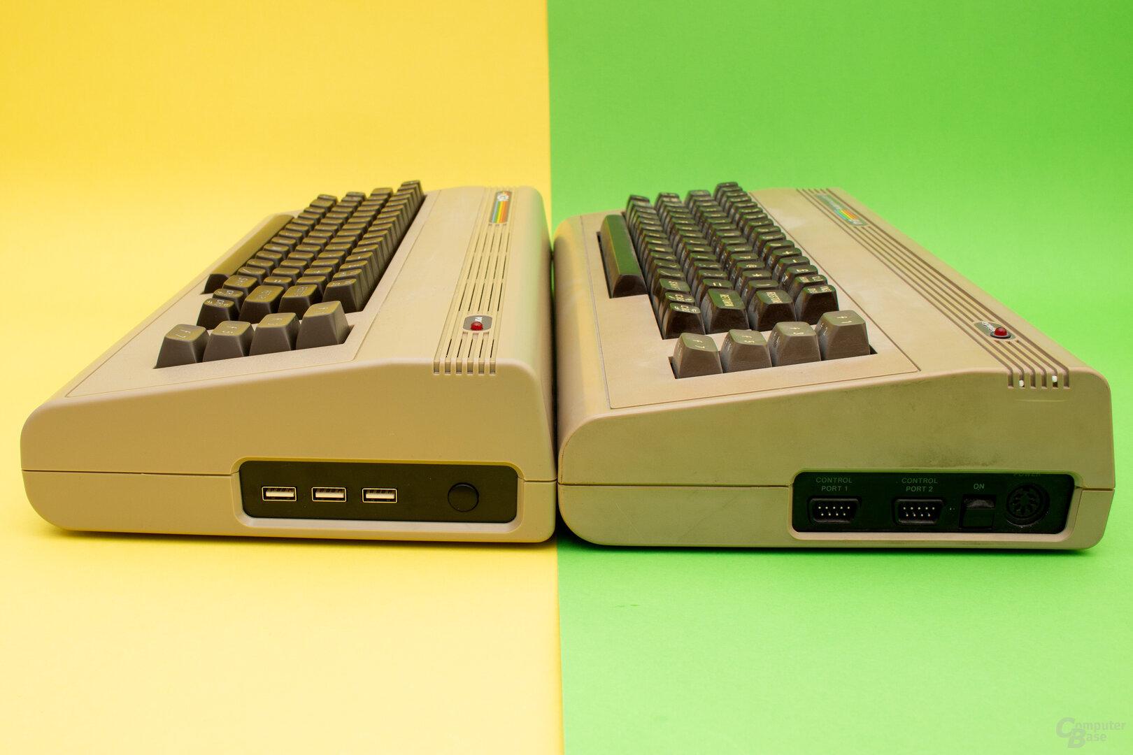 Auch seitlich sind beim TheC64 alle originalen Anschlüsse verschwunden