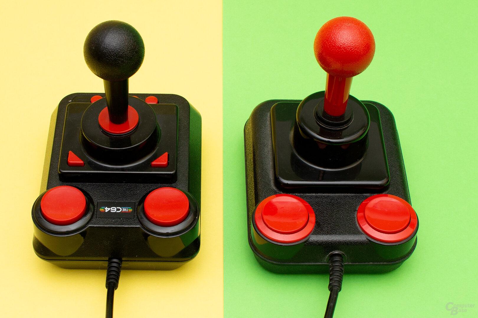 Der neue Joystick des TheC64 (links) und mit dem Competition Pro das Original (rechts)