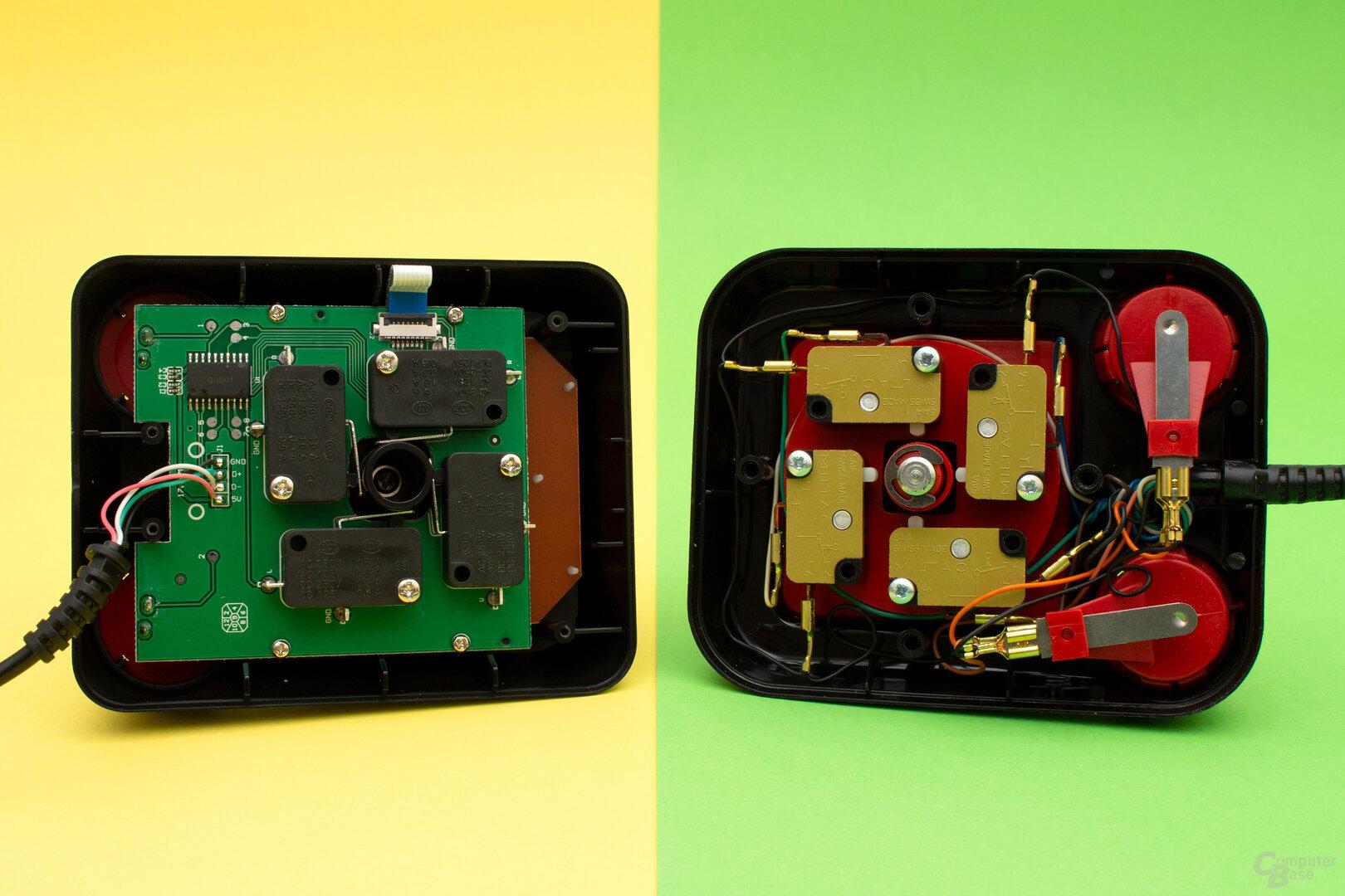 Der Joystick des TheC64 (links) besitzt nun auch Mikroschalter