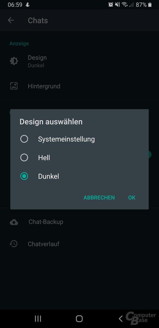 WhatsApp im Dark Theme