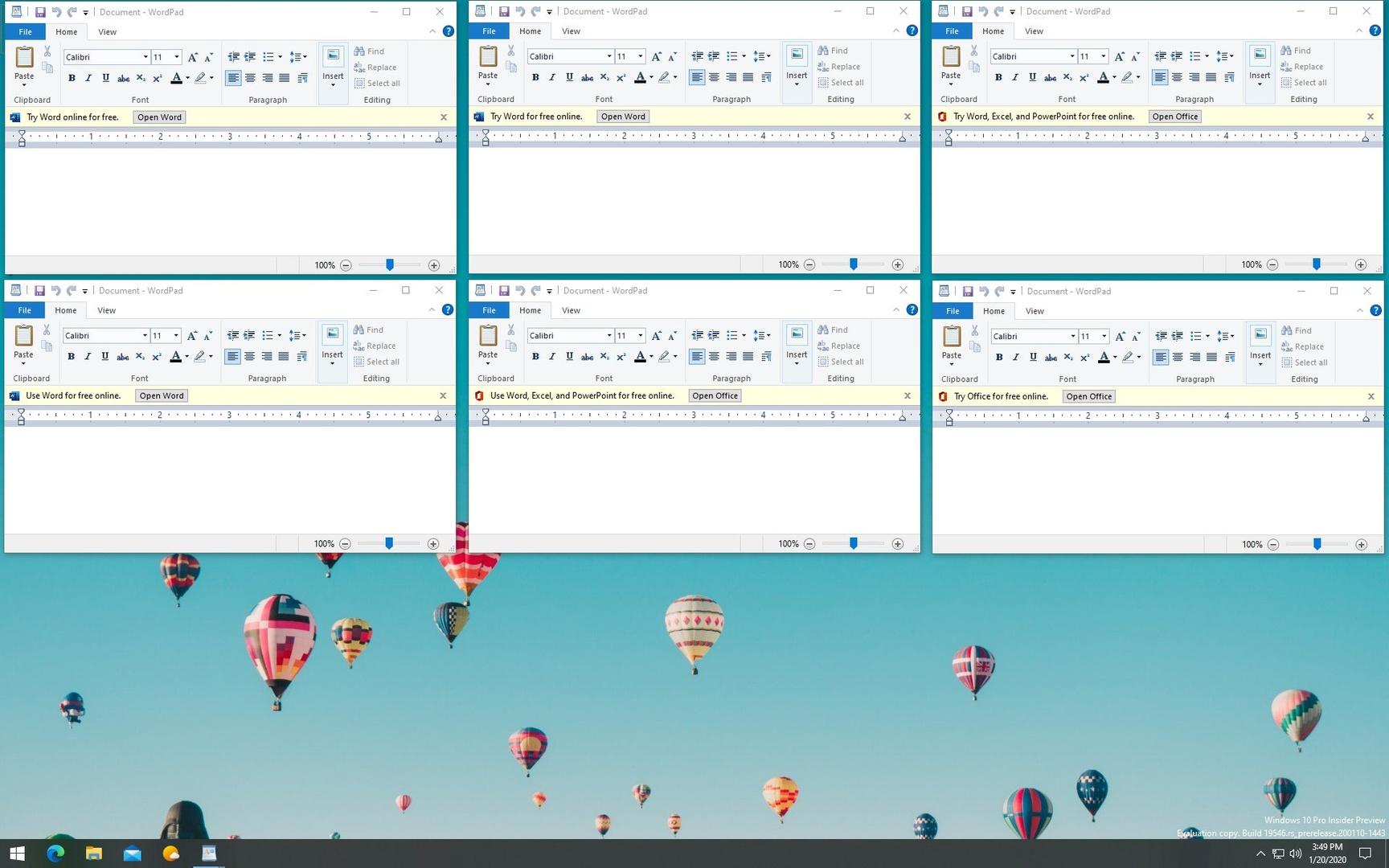 Microsoft bewirbt Office 365 zukünftig in der Textverabeitung WordPad