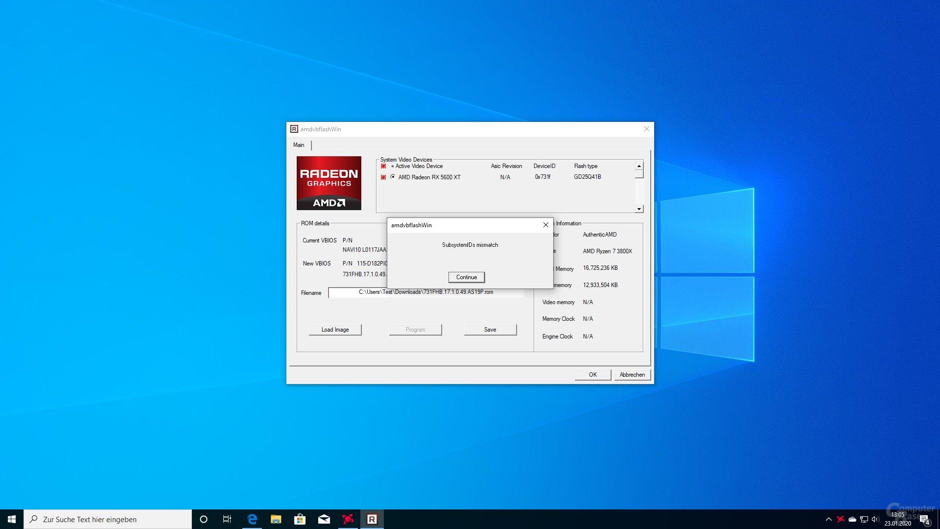 Das Tool erkennt, wenn das BIOS nicht passt