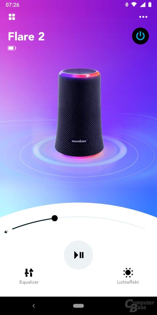 Mit der Soundcore-App lassen sich Ton und Beleuchtung beim Flare 2 einstellen