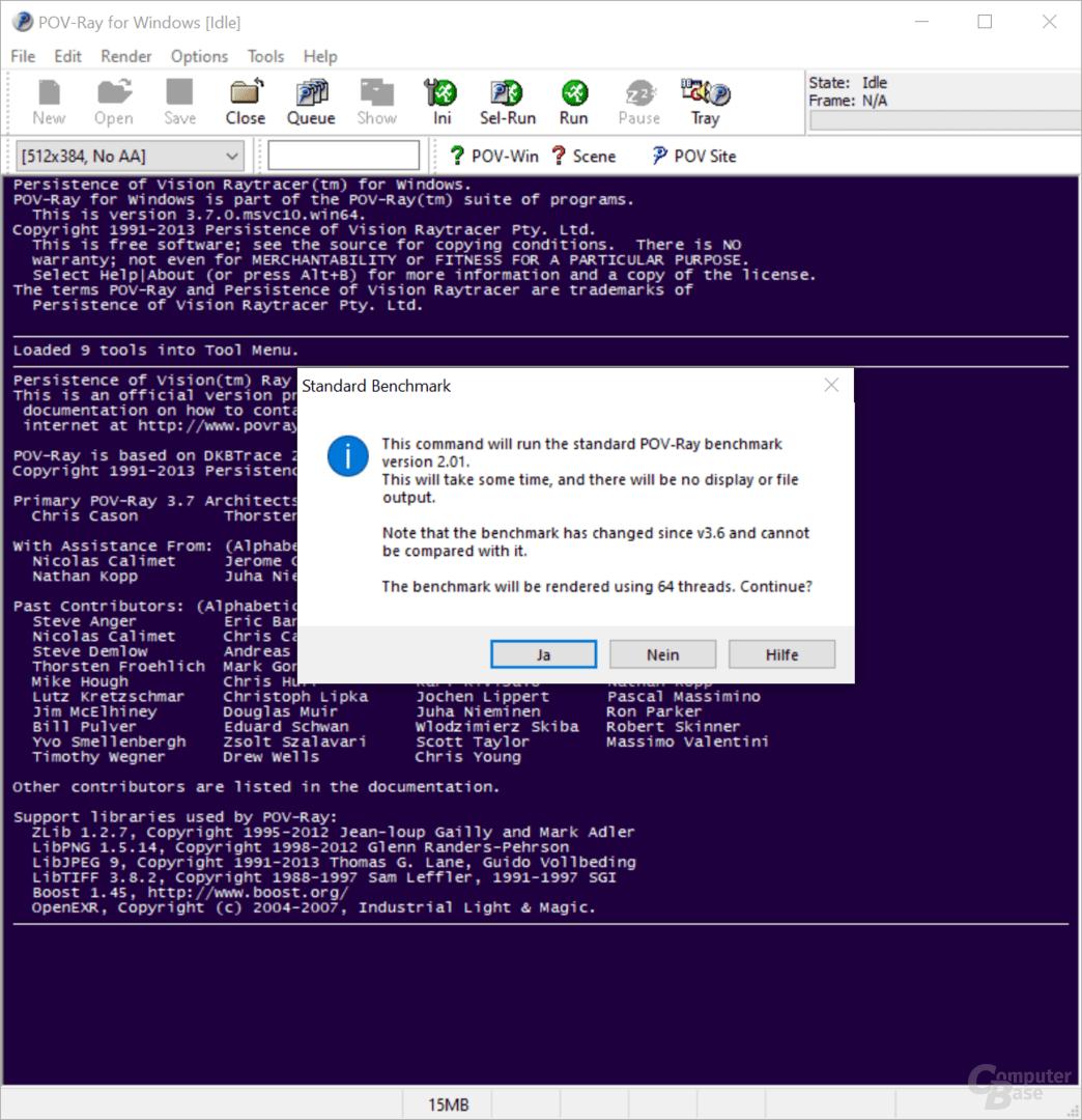 POV-ray in der normalen-Version unterstützt nur 64 Threads