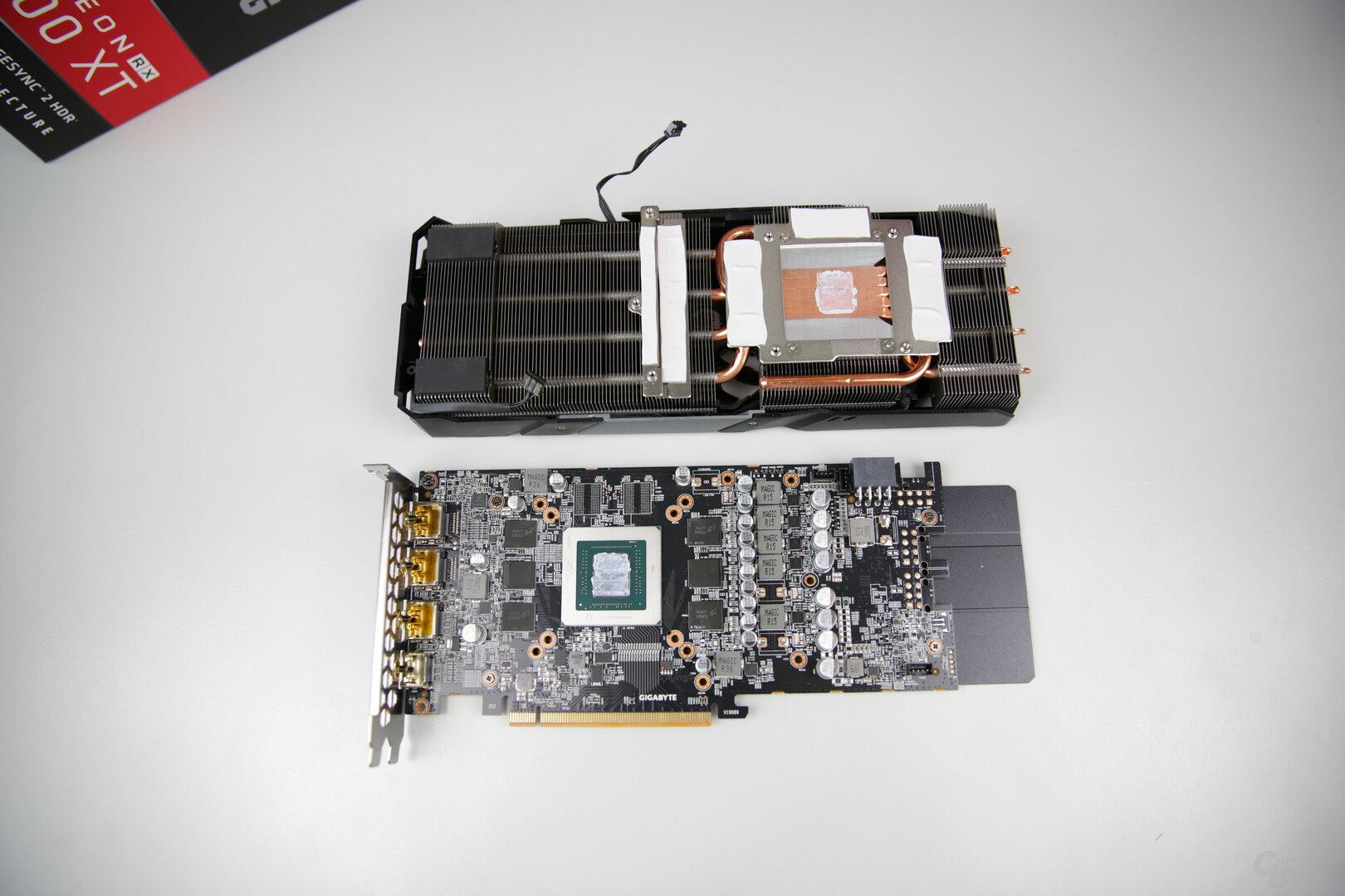 PCB und Kühler der Gigabyte Radeon RX 5600 XT Gaming OC