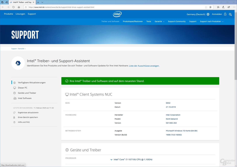 Intels Tool überprüpft die Software und Treiber