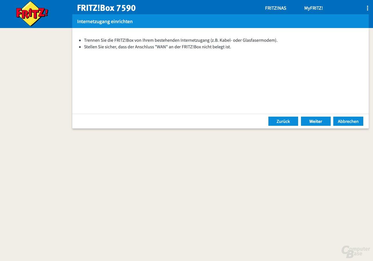 Benutzeroberfläche der Fritz!Box 7590