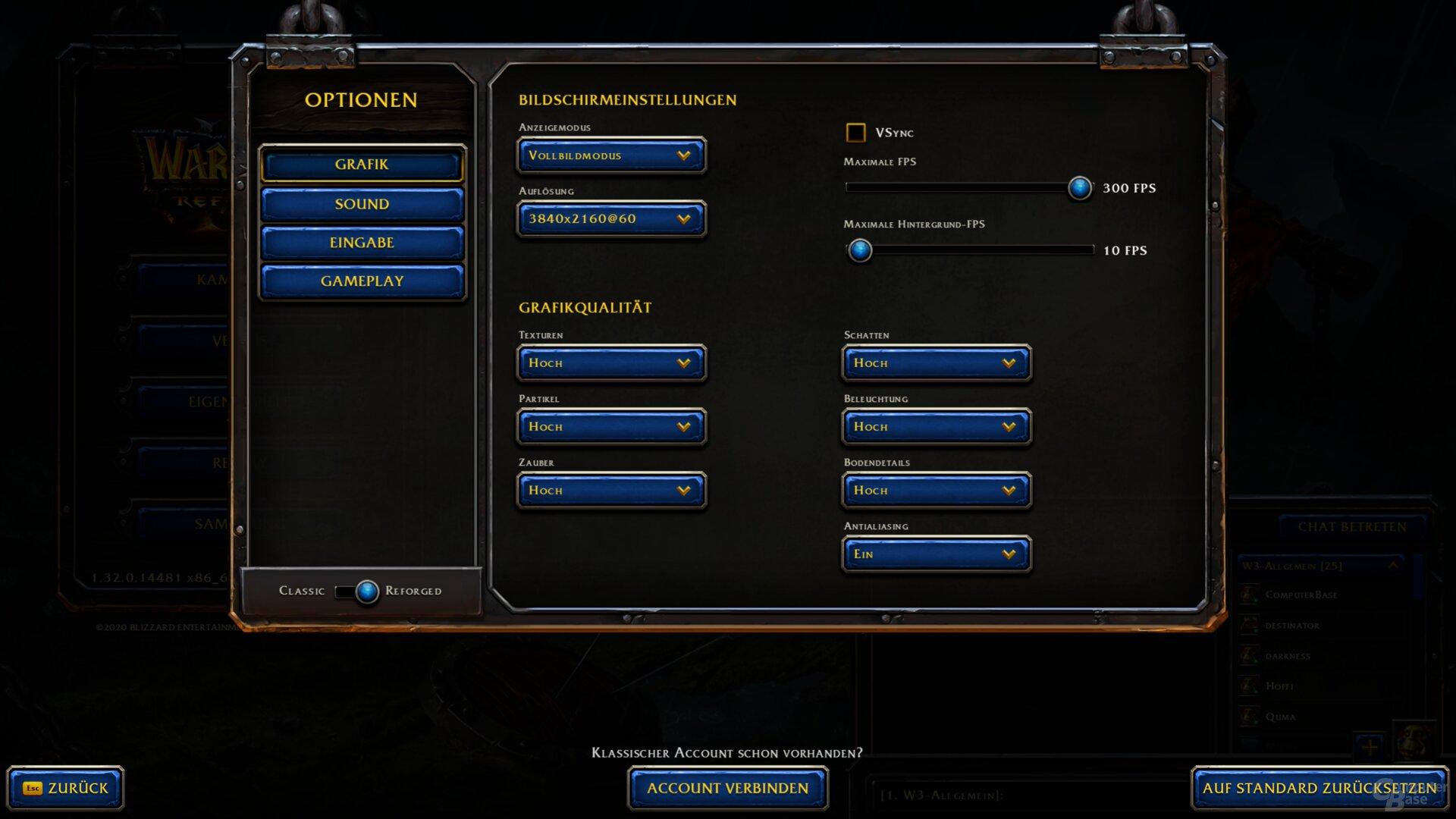 Das Grafikmenü von Warcraft 3: Reforged