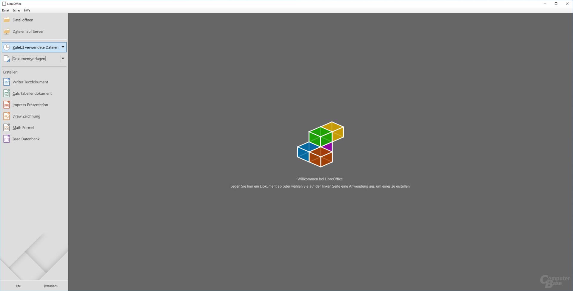 Das Startcenter von LibreOffice 6.4 mit allen Anwendungen der freien Office-Suite