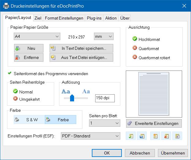 eDocPrintPro – Papier/Layout