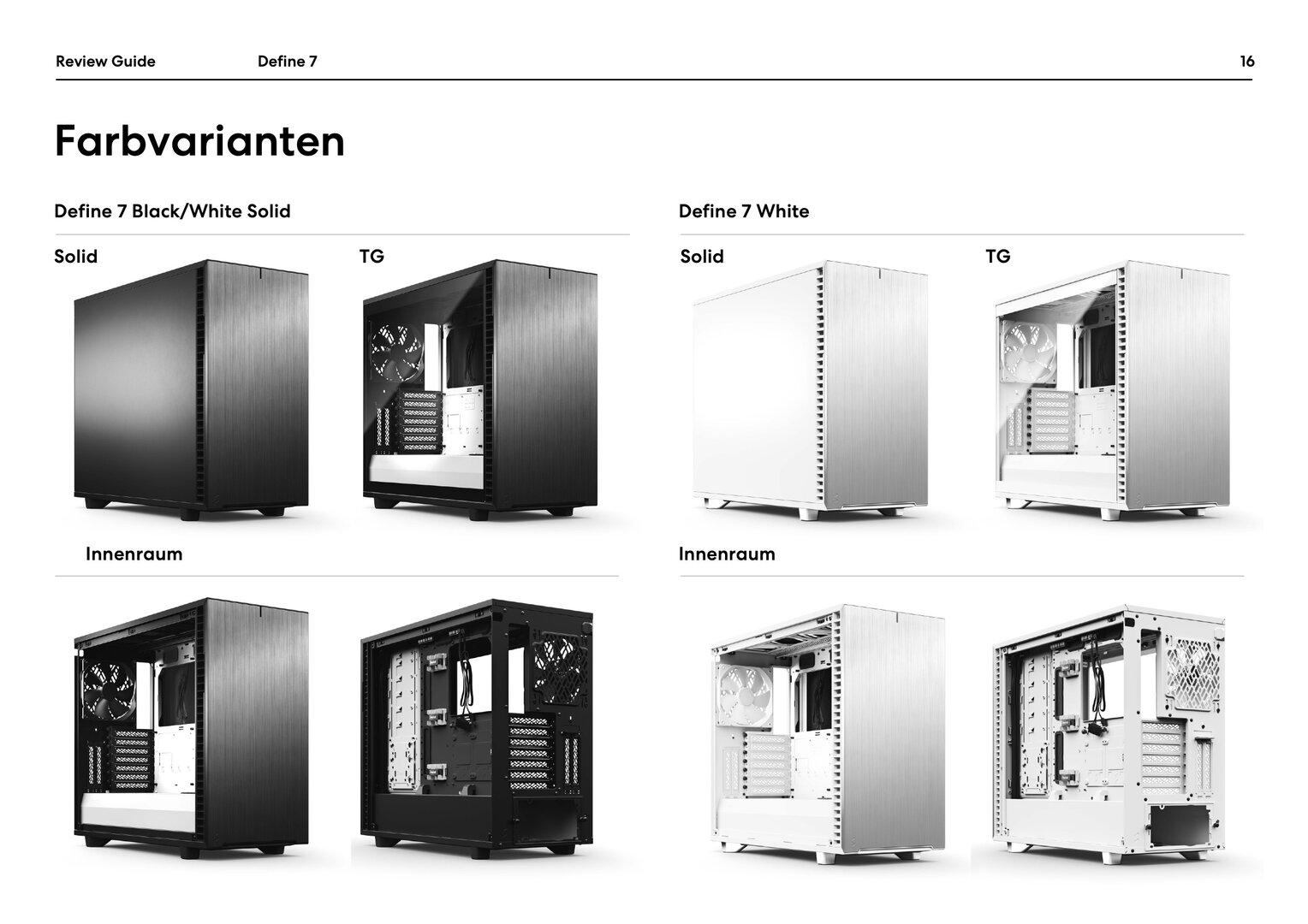 Define 7: Vier Farbvarianten schwarz/weiß und weiß
