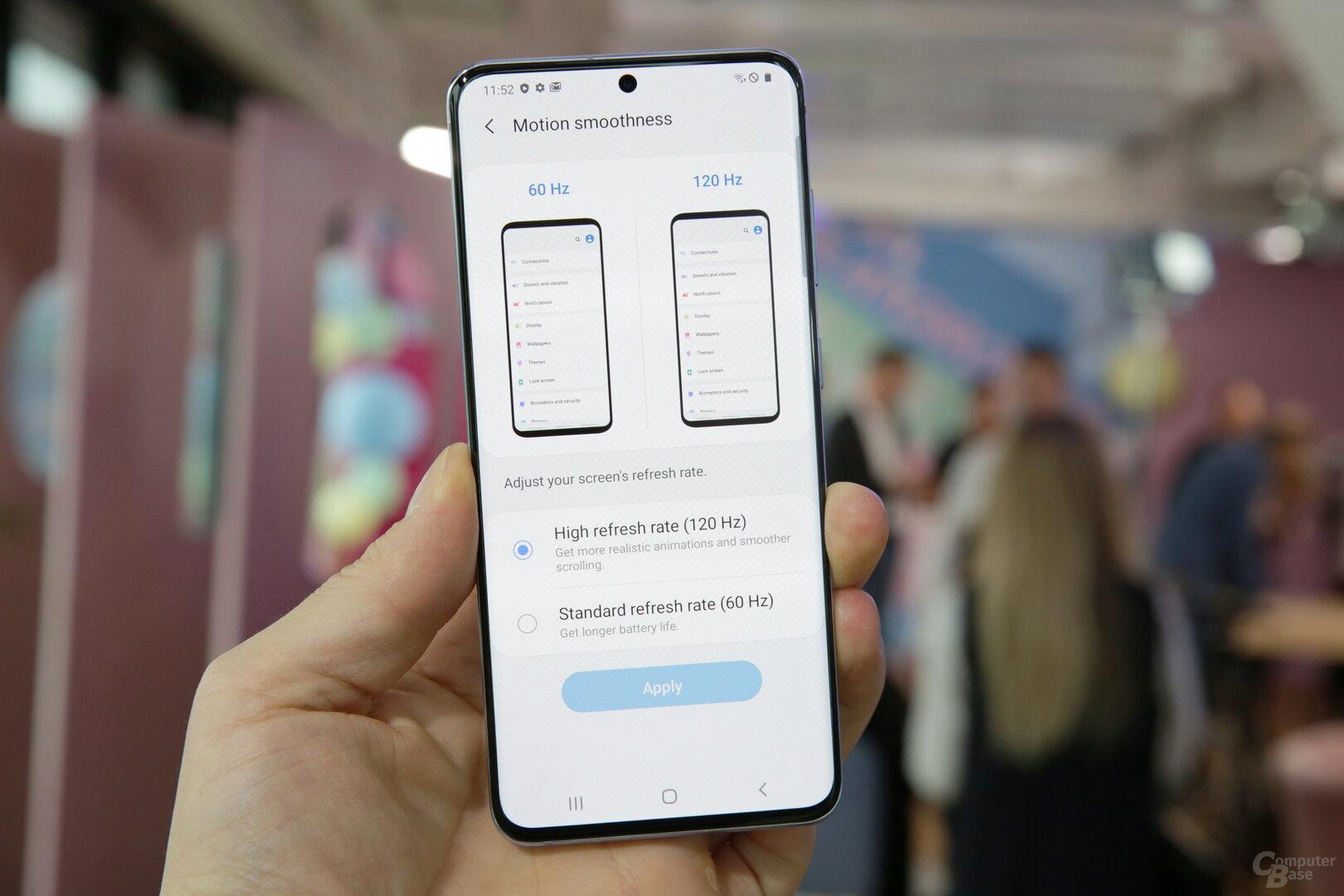 Erstmals bietet Samsung das OLED-Display mit 120Hz an