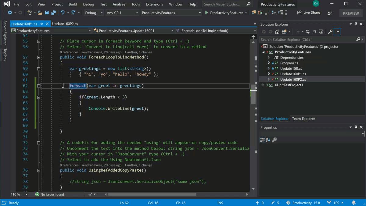 Visual Studio 2019  – Oberfläche