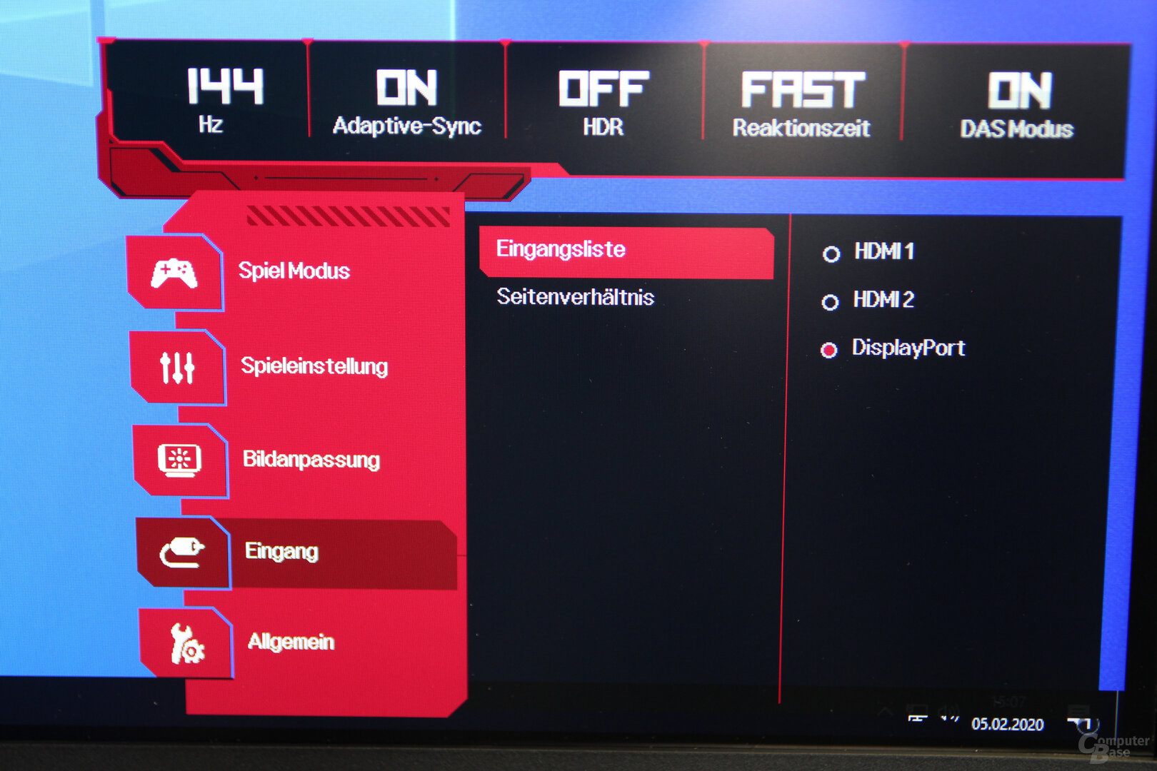 OSD des LG 27GL850-B