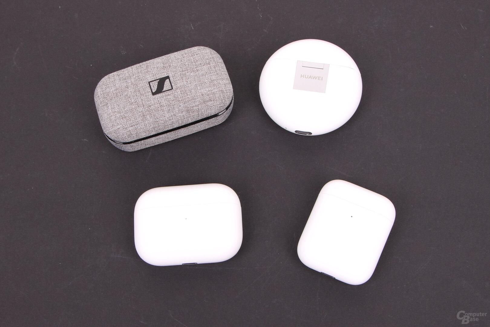 Ladecase der Apple AirPods Pro, AirPods, Sennheiser Momentum True Wireless und Huawei FreeBuds 3