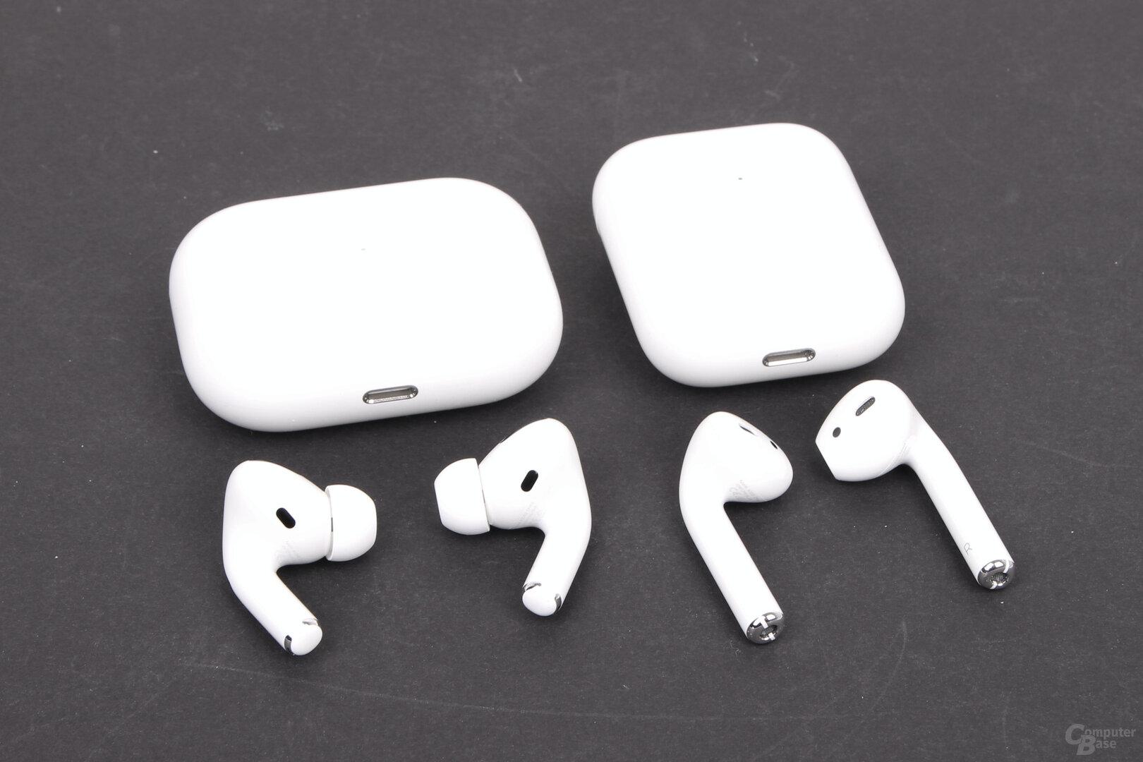 Apple AirPods Pro neben AirPods (2. Gen.)