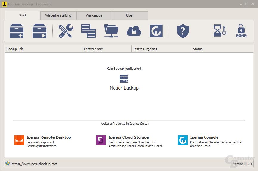 Iperius Backup Free – Oberfläche