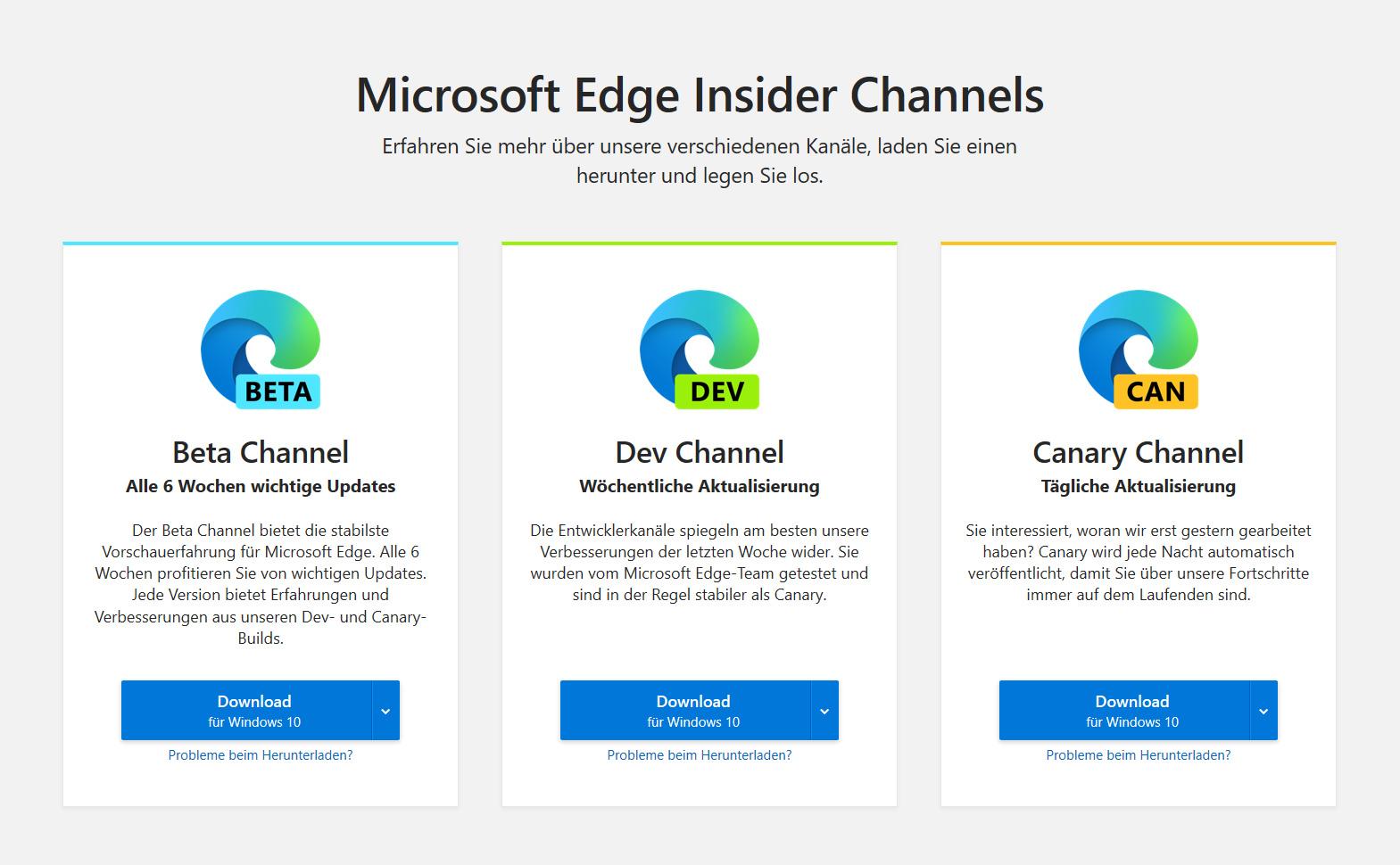 """Über die Insider Channels """"Dev"""" und """"Canary"""" können die optimierten Builds getestet werden"""