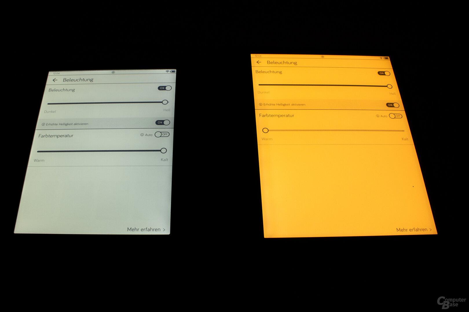 Beleuchtung mit deaktiviertem (links) und aktiviertem Blaulichtfilter (rechts)