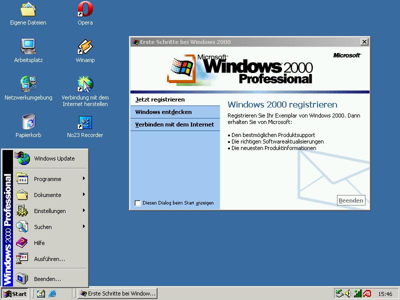 Der Desktop von Windows 2000 Professional