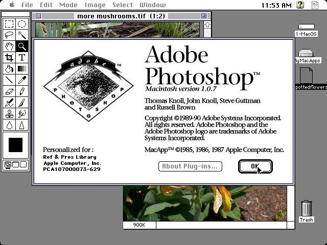 Adobe Photoshop 1.0.7 von 1990 für Mac OS