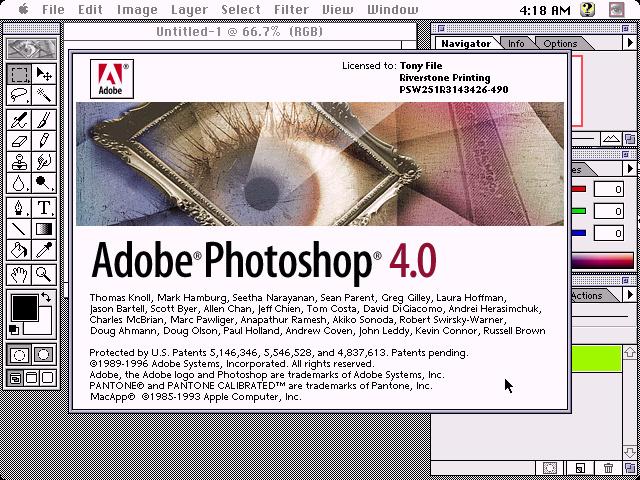 Adobe Photoshop 4.0 von 1996 für Mac OS