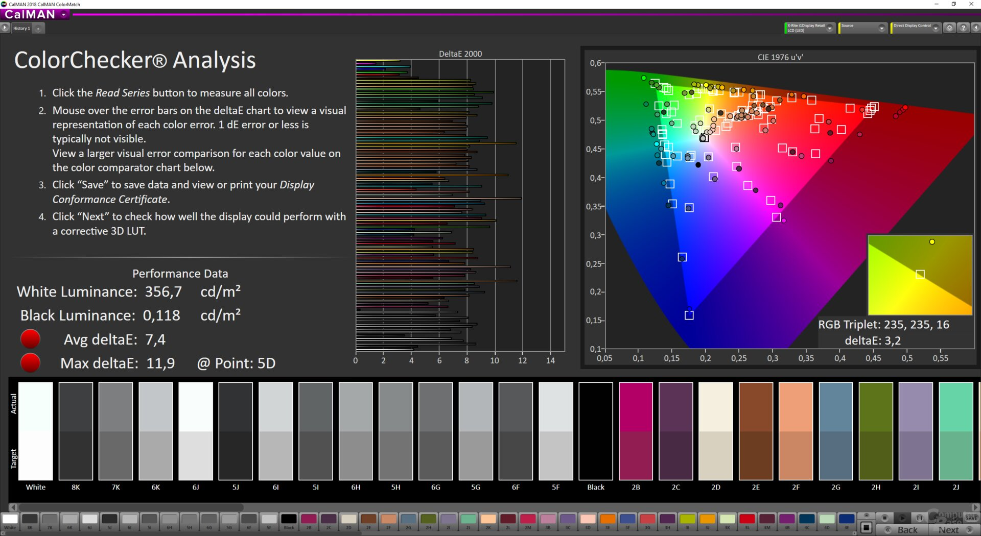 ColorMatch-Testergebnis des MSI Optix MAG272CQR im Modus HDR