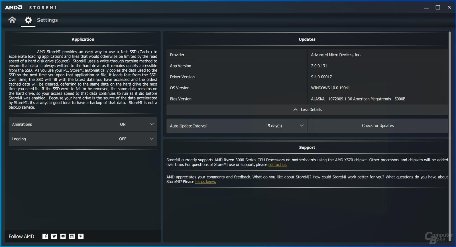 AMD StoreMI – Einstellungen