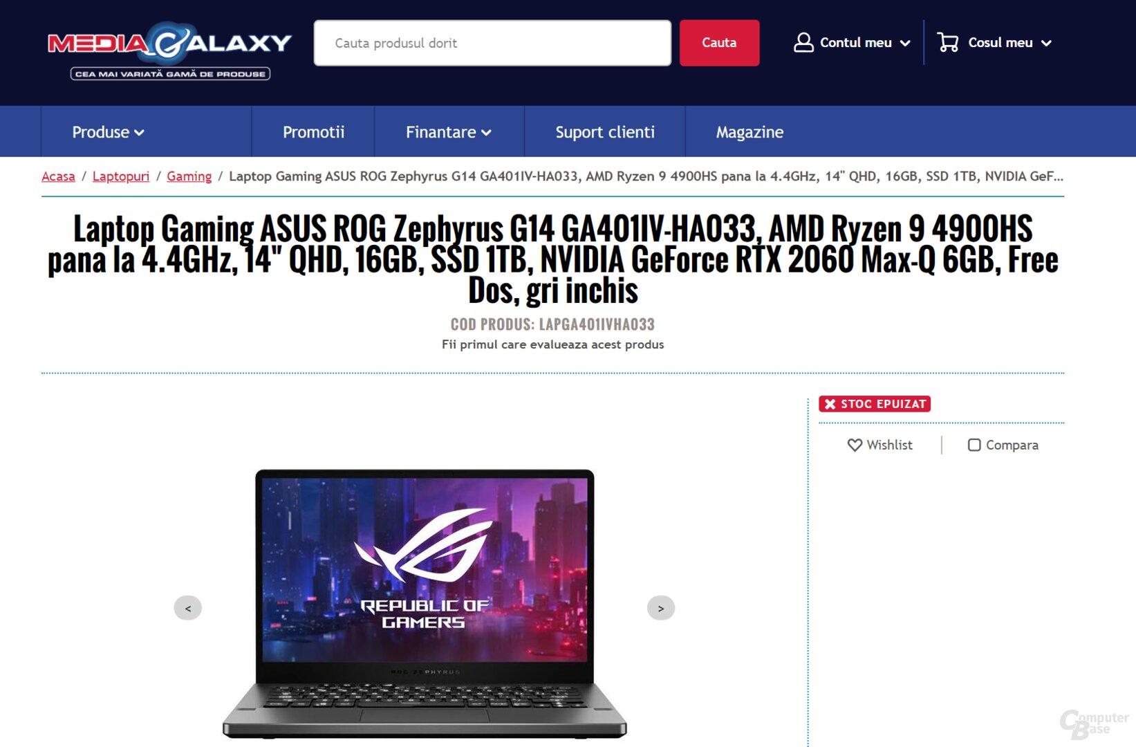 Asus-Notebook mit AMD Ryzen 9 4900HS in rumänischem Online-Shop