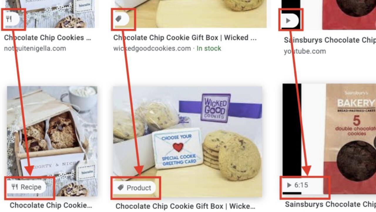 Google Bildersuche: Icons sollen auf Webseiteninhalt hinweisen