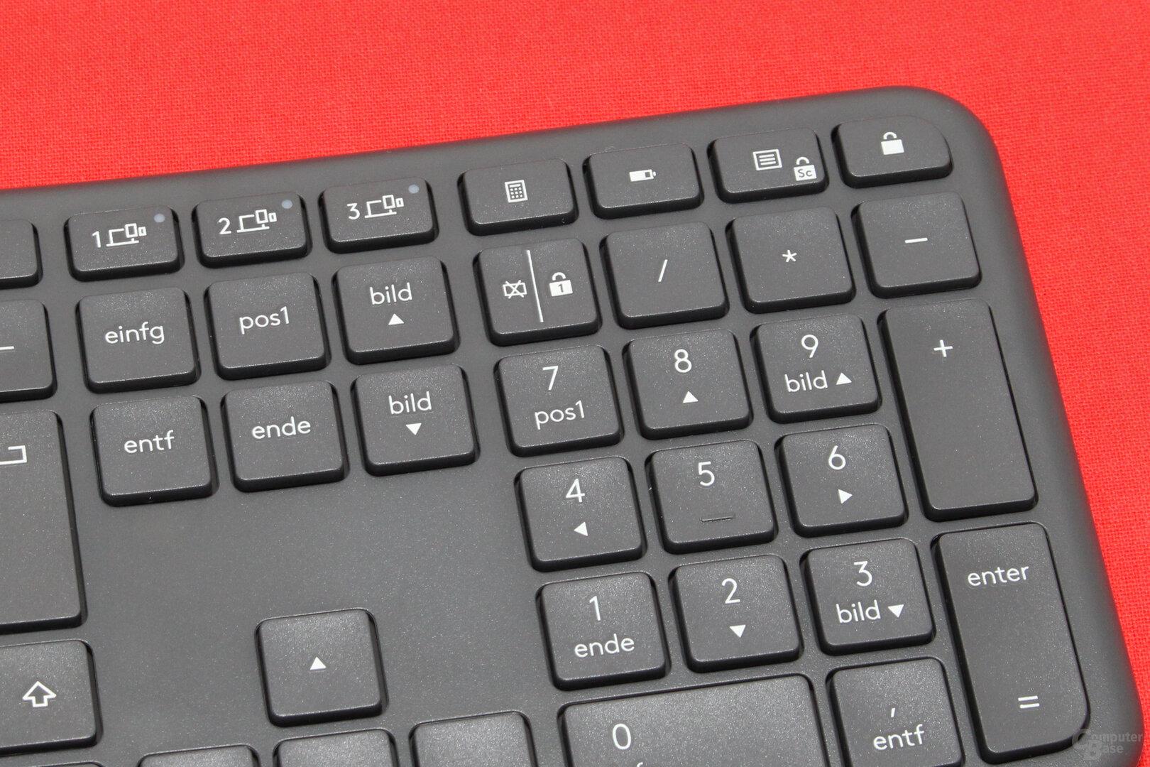 Tasten zur Verbindungswahl, für Taschenrechner, Batteriestatus, Rollen und zum Abmelden