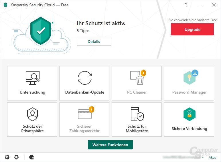 Kaspersky Security Cloud Free – Oberfläche