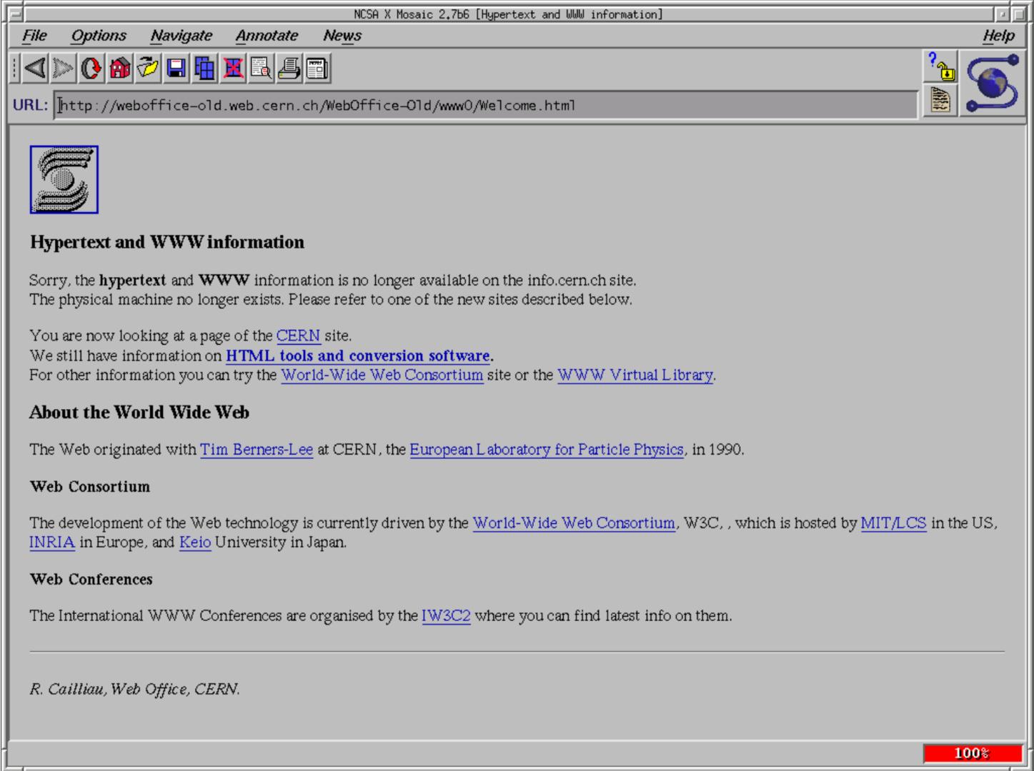 Der NCSA Mosaic 2.7 mit der ersten Website des CERN
