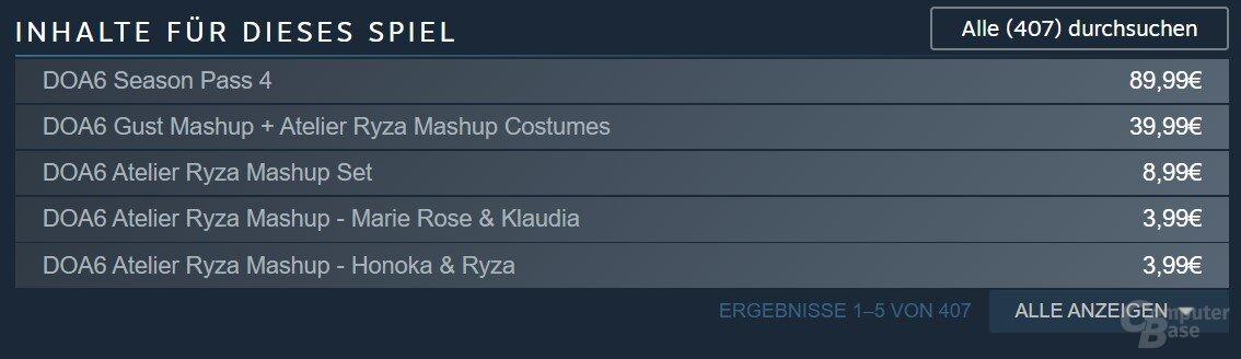Steam listet mehr als 400 Erweiterungen