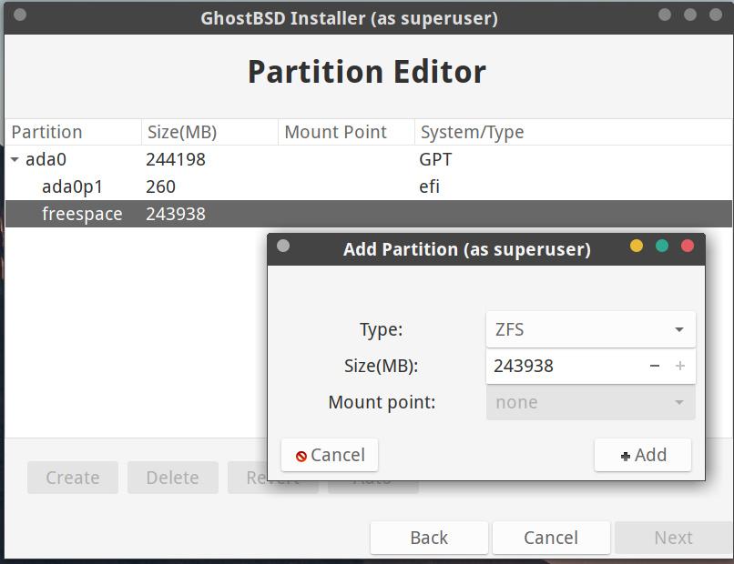 Der Partition Editor installiert GhostBSD auf Wunsch mittels ZFS-Partition neben Windows 10