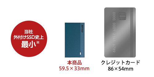 Größenvergleich: Buffalos SSD-PSMU3 versus Kreditkarte
