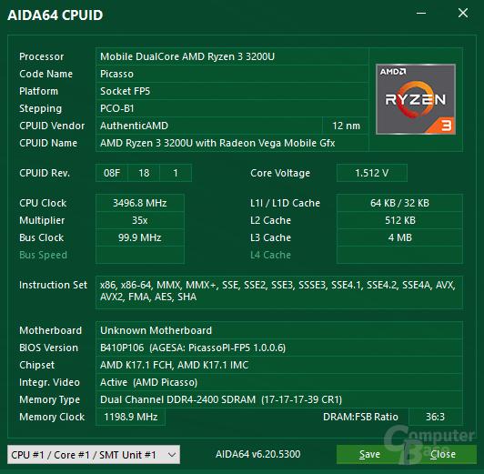 AMD Ryzen 3 3200U in der Zotac Zbox CA621 nano