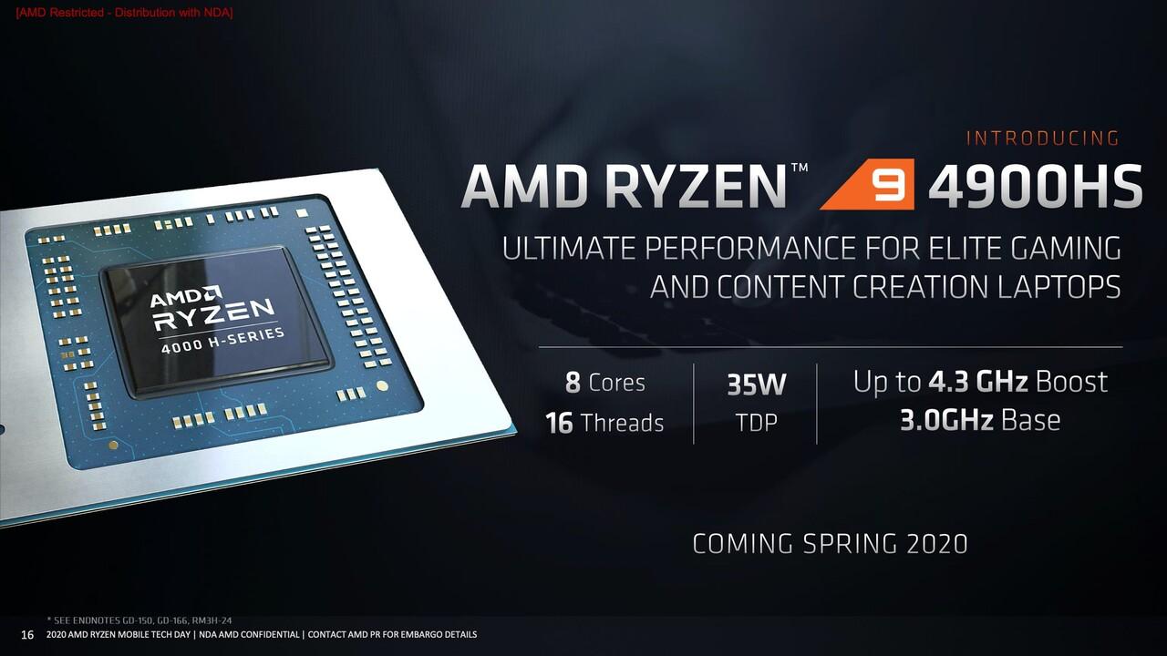 AMD Renoir: Ryzen 9 4900H und -HS mit mehr Takt und größerer GPU