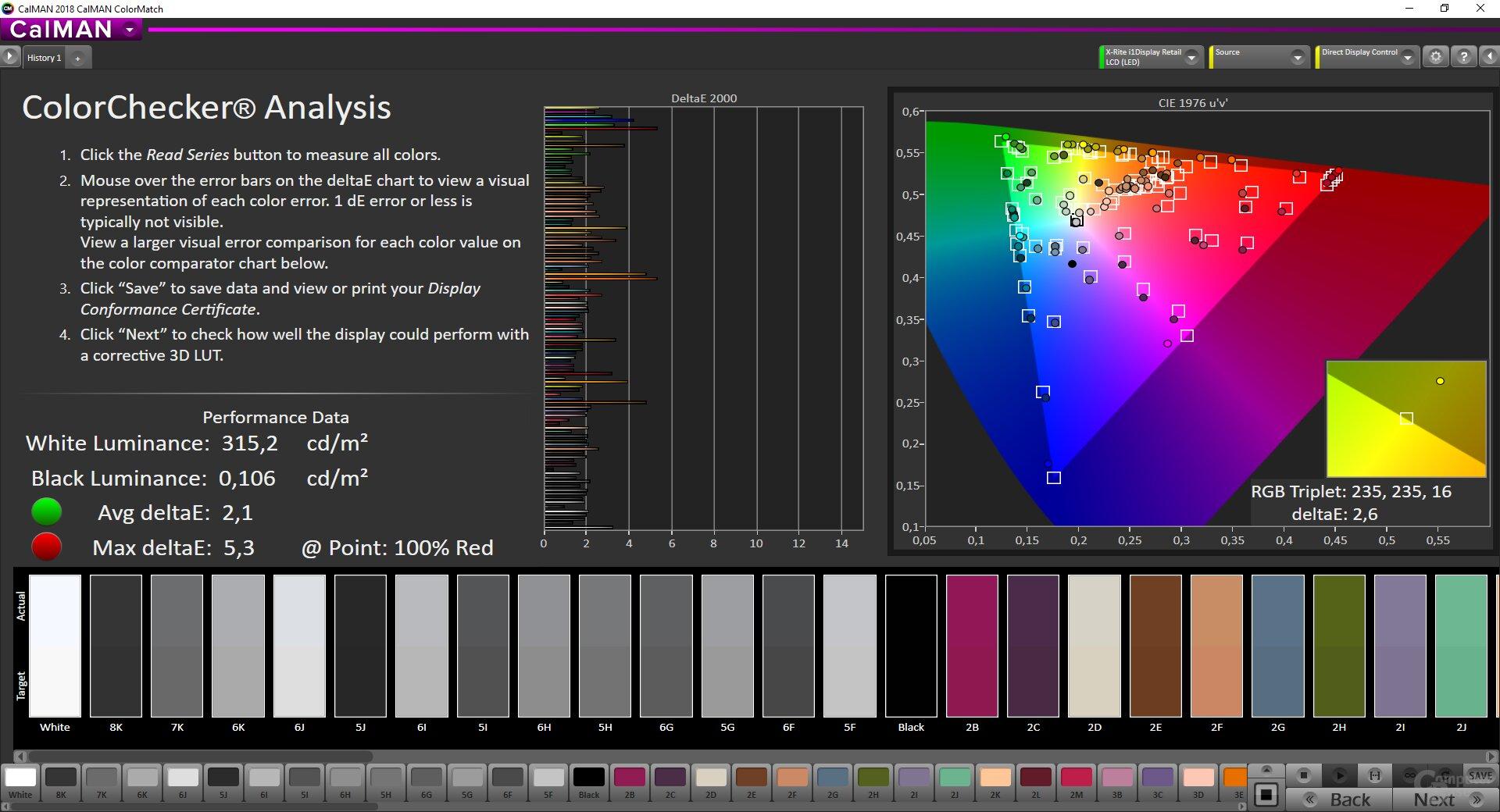 ColorMatch-Testergebnis des Samsung C27RG50