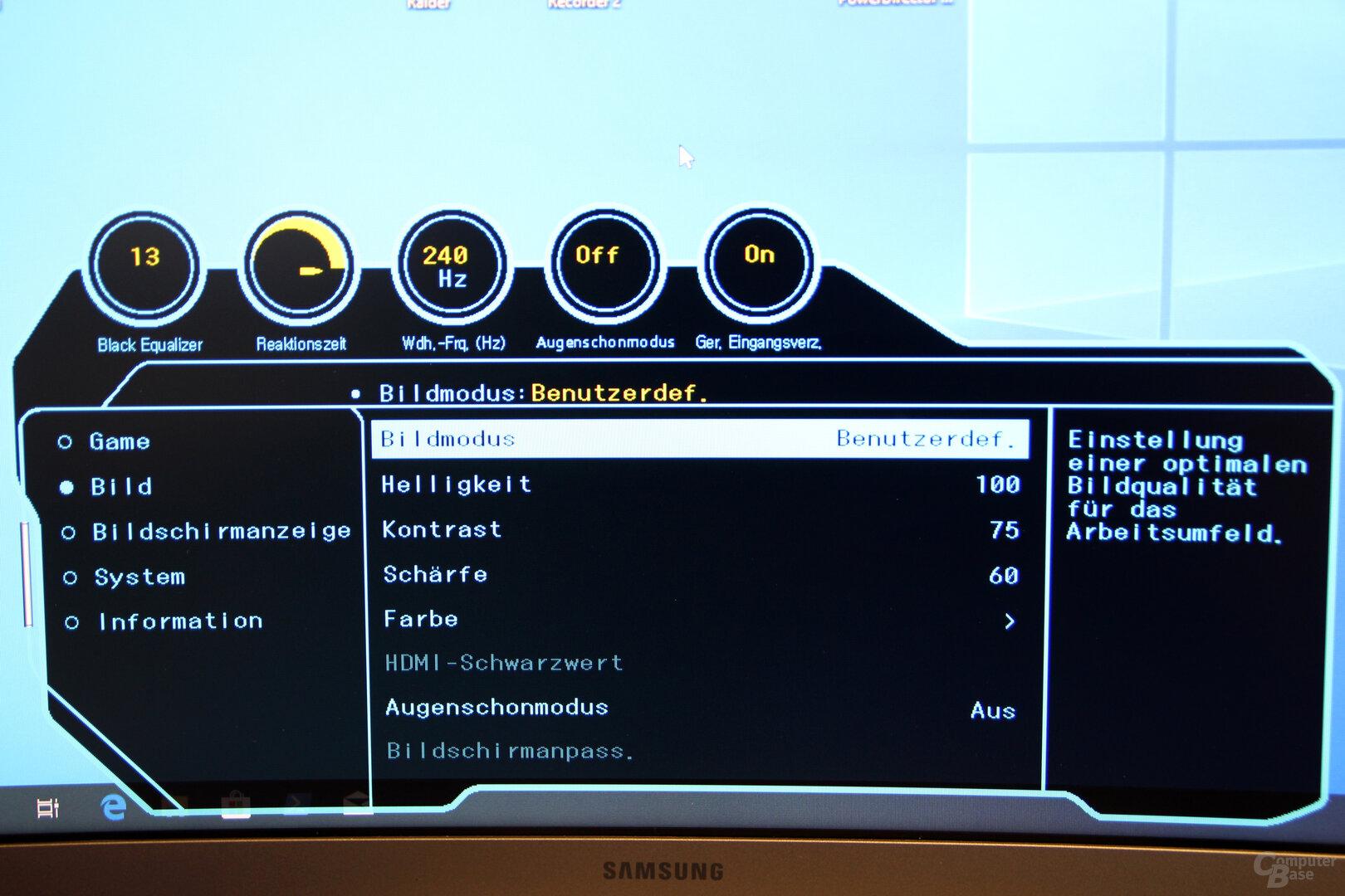 OSD des Samsung C27RG50