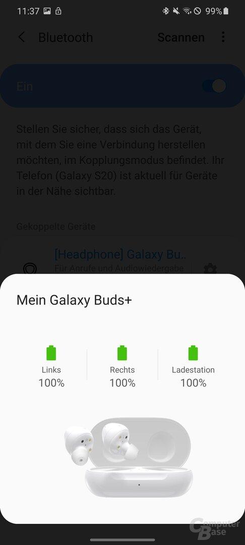 Verbinden der Samsung Galaxy Buds+ mit dem Samsung Galaxy S20