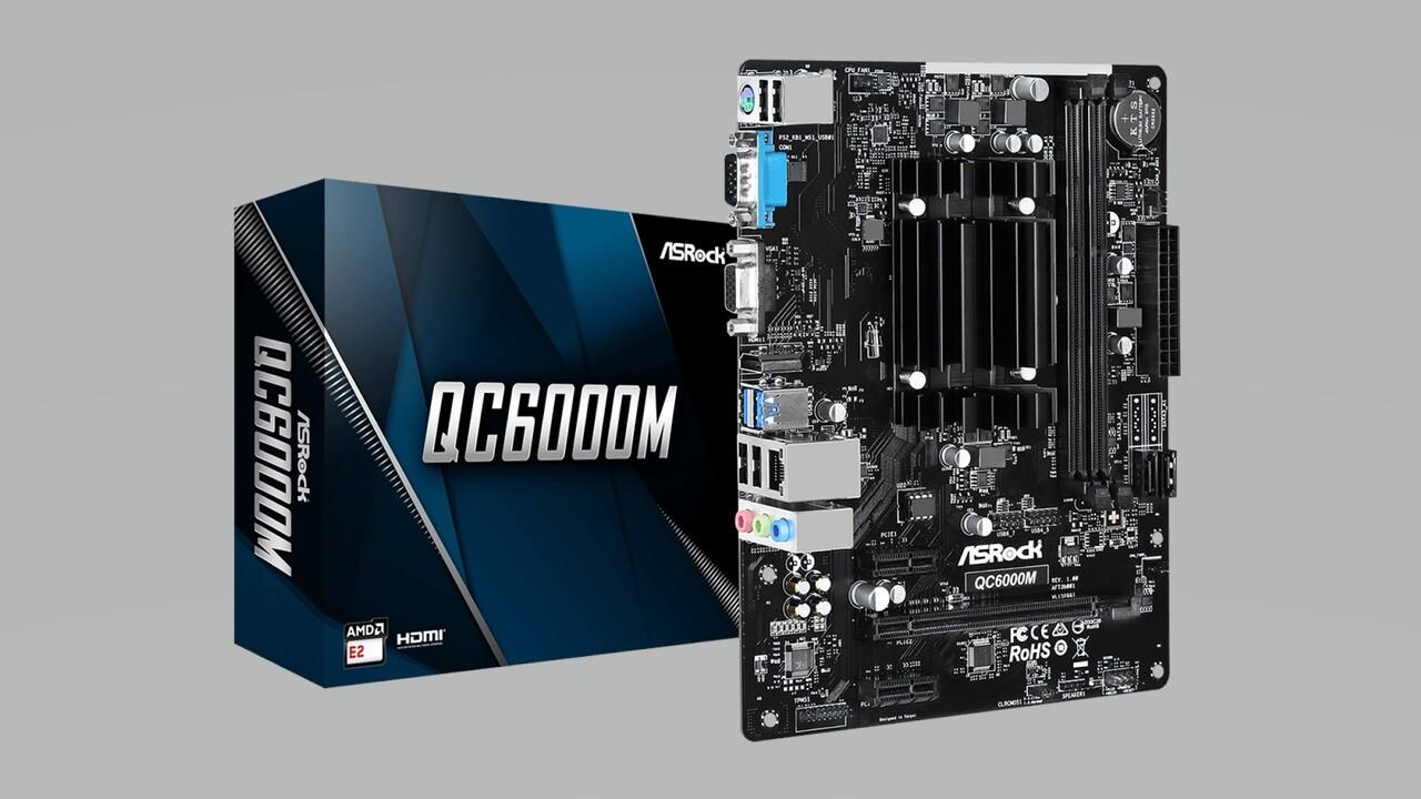 mATX-Platine mit AMD E2-6110: ASRock QC6000M setzt auf sechs Jahre alte Beema-APU