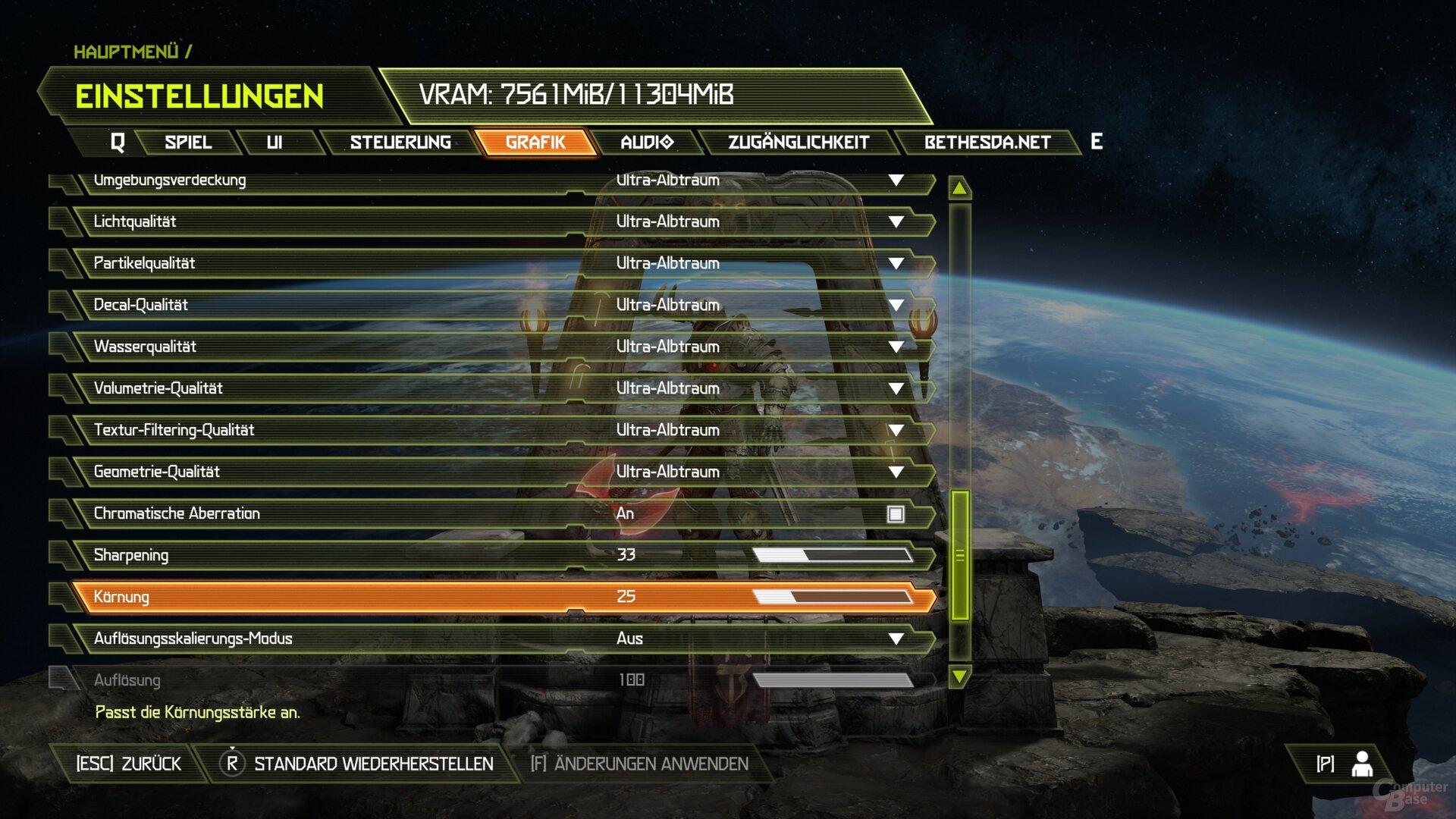 Das Grafik-Menü von Doom Eternal