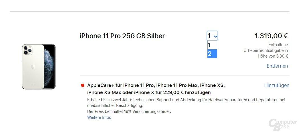 Apple beschränkt das iPhone derzeit auf zwei Einheiten