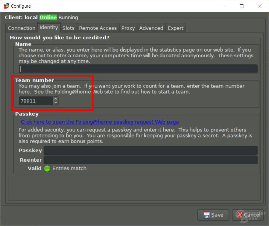 Team-ID in F@H-Client eintragen